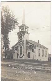 East Corinth, Maine Real Photo Postcard:  M.E. Church on Centennial Day