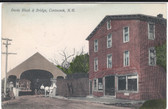 Contoocook, New Hampshire Postcard:  Davis Block & Covered Bridge