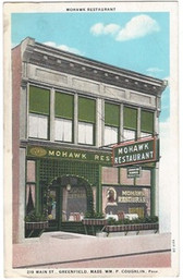 Greenfield, Massachusetts Postcard:  Mohawk Restaurant