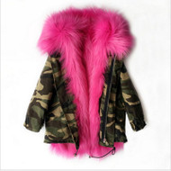 The Original GIRLS CAMO PRINT FUR PARKA Coat (FOR TODDLERS - CHILD)