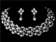 Couture Swarovski Crystal Pearl Bridal Wedding Prom Earrings Necklace Set WS969