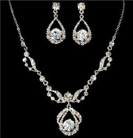 Crystal Bridal Wedding Prom Earrings Necklace Set WS8265
