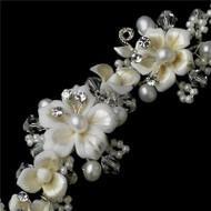 Couture Freshwater Pearl Crystal Fashion Wedding Bridal Prom Bracelet  WB1014