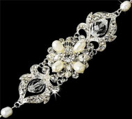 Couture Freshwater Pearl Crystal Fashion Wedding Bridal Prom Bracelet  WB7844