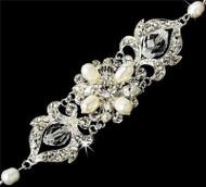 Couture Freshwater Pearl Crystal Fashion Wedding Bridal Prom Bracelet  WB7844