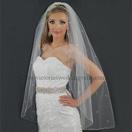 1 Layer Off White/Diamond White Bridal Veil Pencil Edge Rhinestones N7R4d