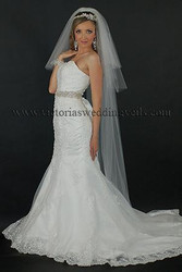 3 Tier Floor Length Wedding Veil Cut Edge Oval N68
