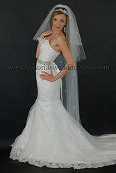 3 Tier Floor Length Oval Wedding Veil Cut Edge Rhinestones N68R