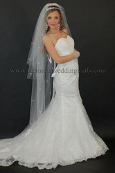 3 Tier Floor Length Wedding Veil Cut Edge Rhinestones N64R