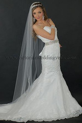 1 Tier Floor Length Wedding Veil Cut Edge N63