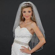3 Layers Bridal Veil Pencil Edge Rhinestones N39R4