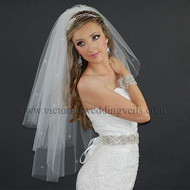 3 Layer Bridal Veil Cut Edge Rhinestones N37R