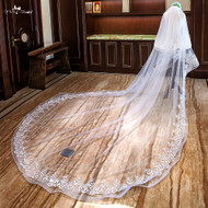 2 Layer Cathedral Veil with Lace Edge & Blusher