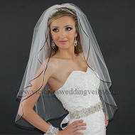 "2 Layer Bridal Veil 1/8"" Black Satin Ribbon N26-1"