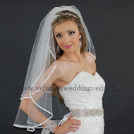 2 Layer Bridal Veil White 1/4 Satin Ribbon Edge N21-2