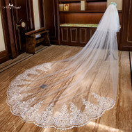 ivory lace cathedral wedding veil