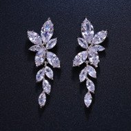 Camilla CZ Floral Vine Wedding Earrings
