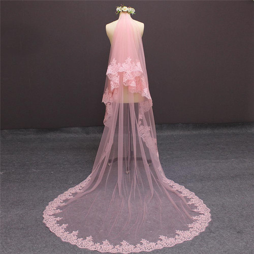 pink cathedral veil with blusher