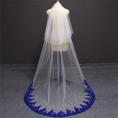 blue bridal cathedral veil