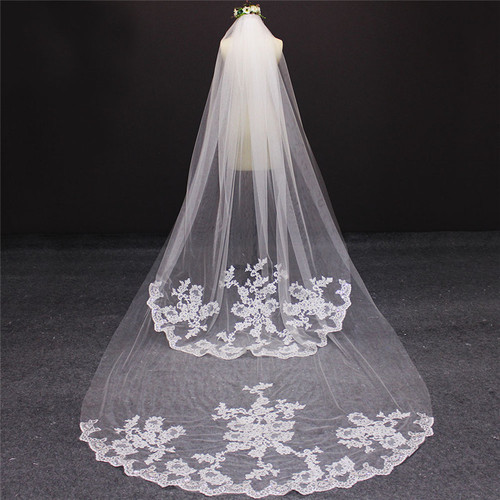 2 layer cathedral veil with lace