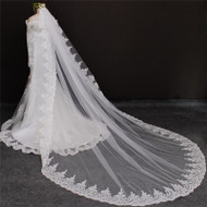 cathedral veil with lace trim