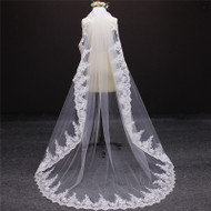 beautiful lace long veil