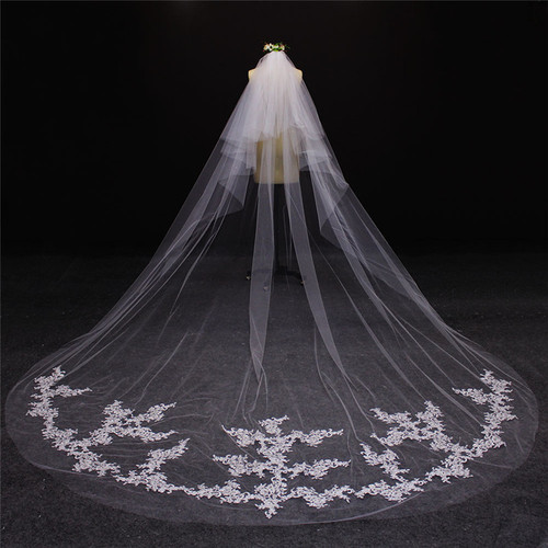 2 layer wedding veil with lace