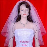 """WEDDING BRIDAL VEIL BLACK TRIM SWAROVSKI CRYSTAL 25""""x29"""" 18R3"""