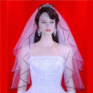 Bridal Wedding Veil  2 Tier Black Edge Swarovski Crystal 25''x29'' 18R1