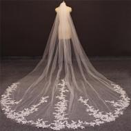 Veil with applique lace