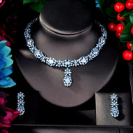 Clear CZ Crystal Necklace and Earrings Bridal Jewelry Set