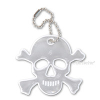Jolly Roger soft reflector with metal ball chain attachment. Width 6cm, Height 5.5 (2 3/8 by 2 inches).