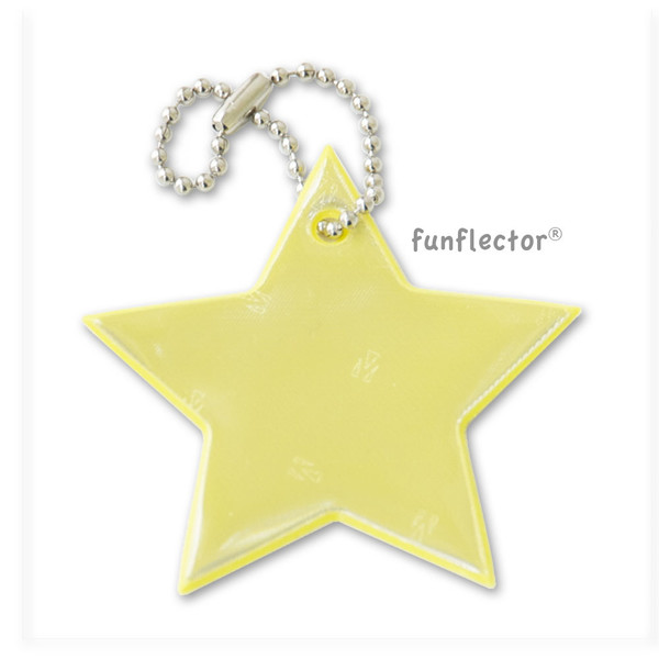 NEW! Yellow star 3M Scotchlite soft reflector with metal ball chain attachment. Width 6cm (2 3/8 inches).