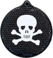 Hard Prism Black Round Jolly Roger Reflector