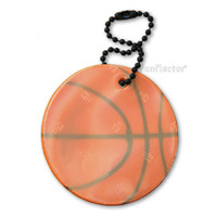 Basketball soft reflector with metal ball chain attachment. 5cm (2 inches).