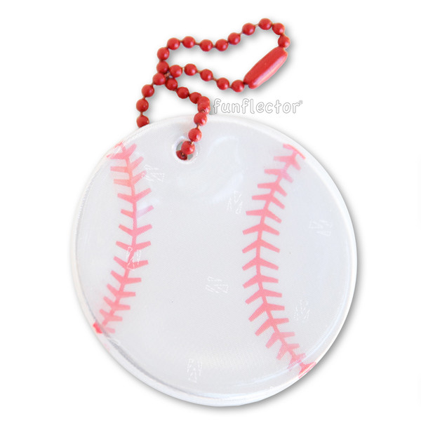 Baseball soft reflector with metal ball chain attachment. Width 5cm (2 inches).