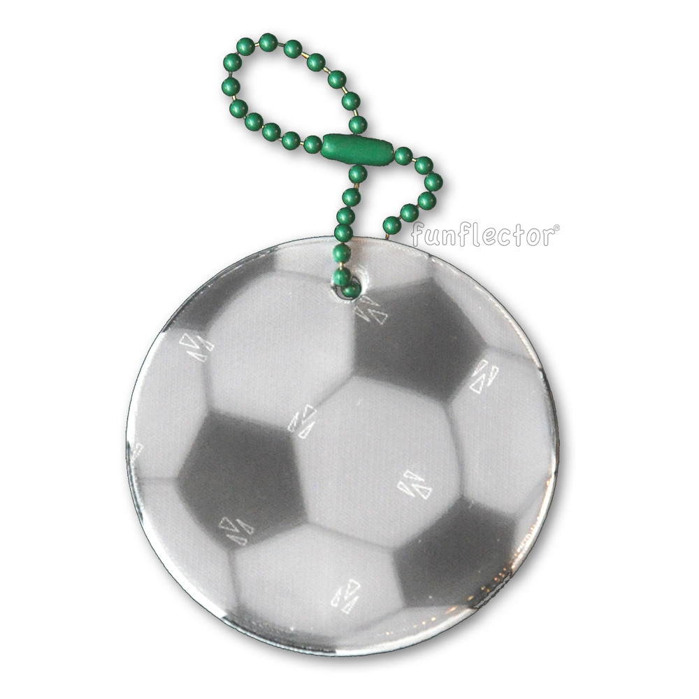 Soccer ball soft reflector with metal ball chain attachment. Width 5cm (2 inches).