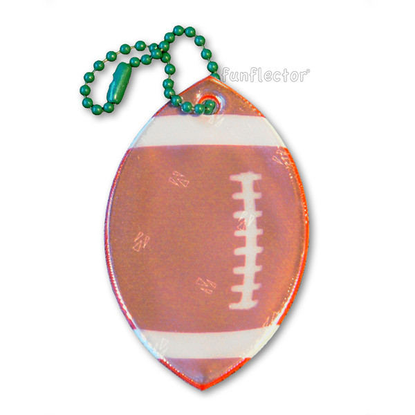 Football soft reflector with metal ball chain attachment. Width 6.5cm, Height 4cm (2 5/6 x 1 5/8 inches).