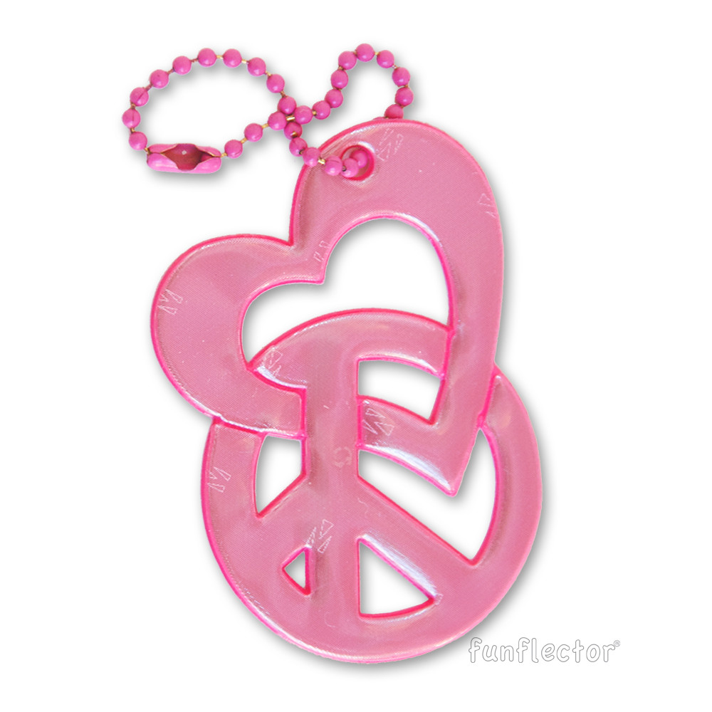 Love & Peace pink soft reflector with metal ball chain attachment. Width 4.5cm, Height 6.5cm (1 3/4 by 2 1/2 inches).