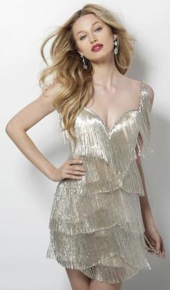 JOVANI - 62975 FULLY FRINGE SLEEVELESS COCKTAIL DRESS