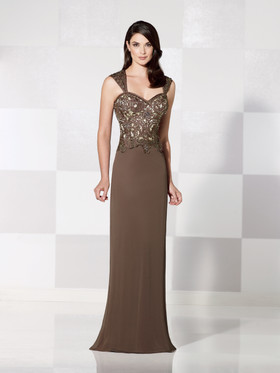 Cameron Blake 115605 Straight Cut Gown with Hand Beaded Corset Bodice and Sweetheart Neckline