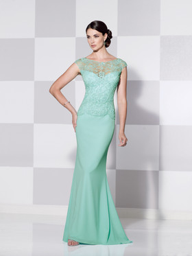 Cameron Blake 115602 Formal Gown with Lace Bodice and Cap Sleeves
