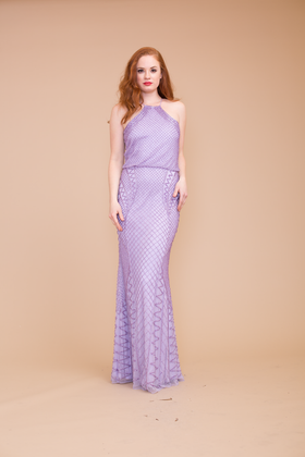 Lotus Threads 55227 Full Length Evening Dress with Geometric Patterns and Sweep Train