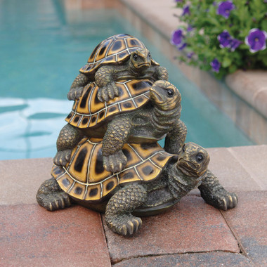 Design Toscano Three's a Crowd Stacked Turtle Statue Pond or Water Garden Outdoor Decor