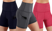 High Waist Yoga Shorts with Pocket