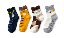 Cats Face on Socks - 4 Pairs