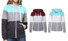 Colour Block Zip-Up Hoodie Jacket