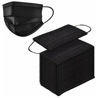 Black 3-Ply 3 Layer Safety Mask - Earloop Protection Polypropylene Filtration Masks - 50 PCS