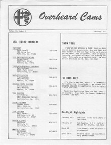 Overheard Cams September 1971