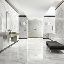 Nero Marquina - Main tile: Calacatta 600x600mm, Feature: Nero mosaic 300x300mm / Calacatta mosaic 300x300mm